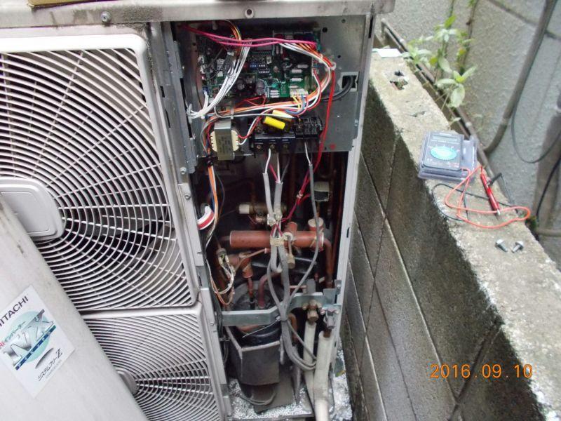 日立 業務用エアコン エラーコード「31」修理工事 室外機:RAS-NP112HVR 施工日2016年9月10日